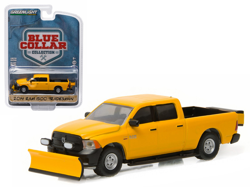 2015 Dodge Ram 1500 Pickup Truck Tradesman Construction with Snow Plow and Salt Spreader Blue Collar Collection 1 1/64 Diecast Model Greenlight 35040 D