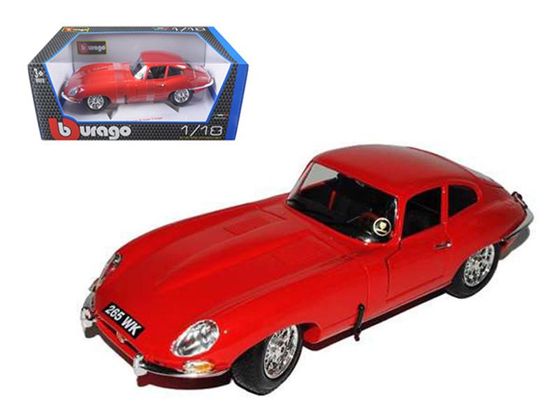 1961 Jaguar E Type Coupe Red 1/18 Diecast Model Car Bburago 12044