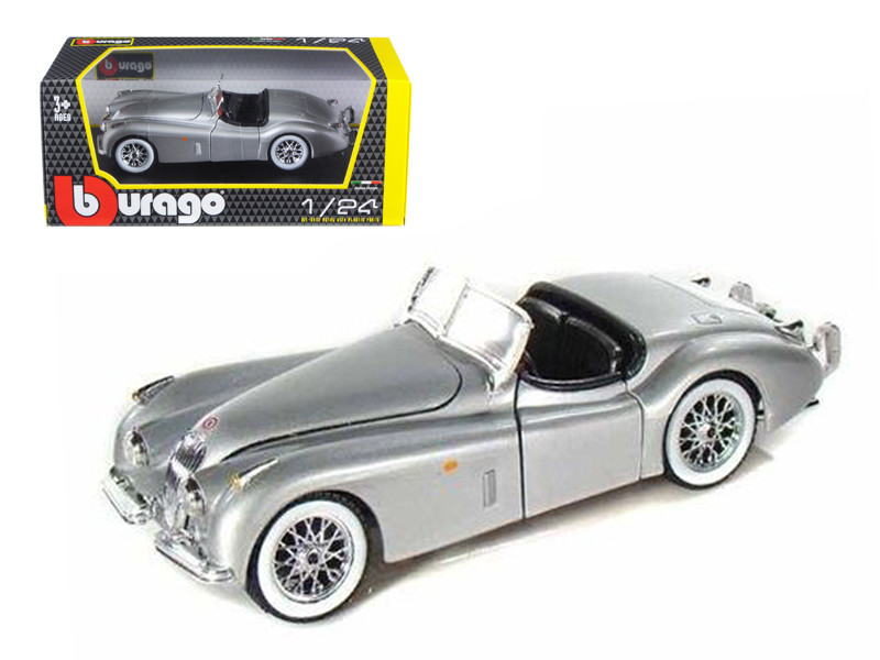 1948 Jaguar XK120 Roadster Silver 1/24 Diecast Model Car by Bburago