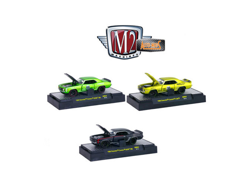 Auto Mods 1969 Chevrolet Camaro SS RS 396 and 1969 Chevrolet Camaro Z/28 3 Cars Set WITH CASES 1/64 Diecast Model Cars M2 Machines 32600-AM04