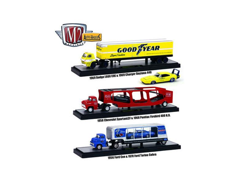 Auto Haulers Release 19 B 3 Trucks Set 1/64 Diecast Models M2 Machines 36000-19 B