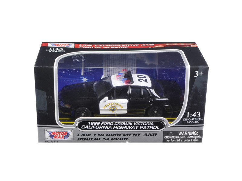 1999 Ford Crown Victoria California Highway Patrol (CHP) Black and White Car 1/43 Diecast Model Car Motormax 79454