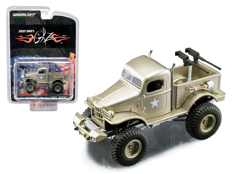 Stacey David's Sargeant Rock 1941 Military Dodge 1/2 Ton 4x4 Pick Up Truck 1/64 Diecast Model Acme Greenlight 51013