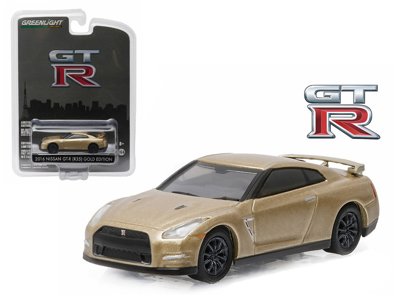 2016 Nissan GT-R (R35) Gold Edition GT-R 45th Anniversary Collection 1/64 Diecast Model Car Greenlight 27850 F