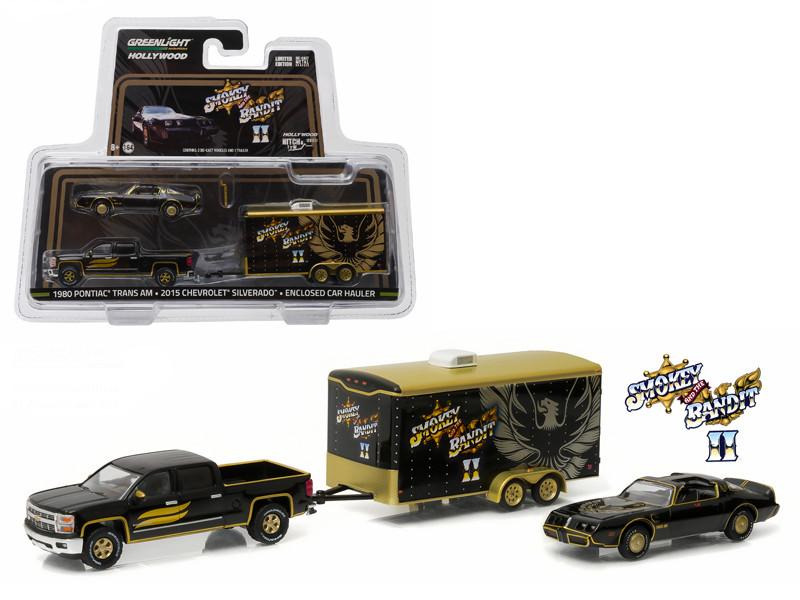 "2015 Chevrolet Silverado and 1980 Pontiac Trans Am with Enclosed Car Hauler ""Smokey & The Bandit II"" (1980) 1/64 Diecast Model Car Greenlight 31010 B"