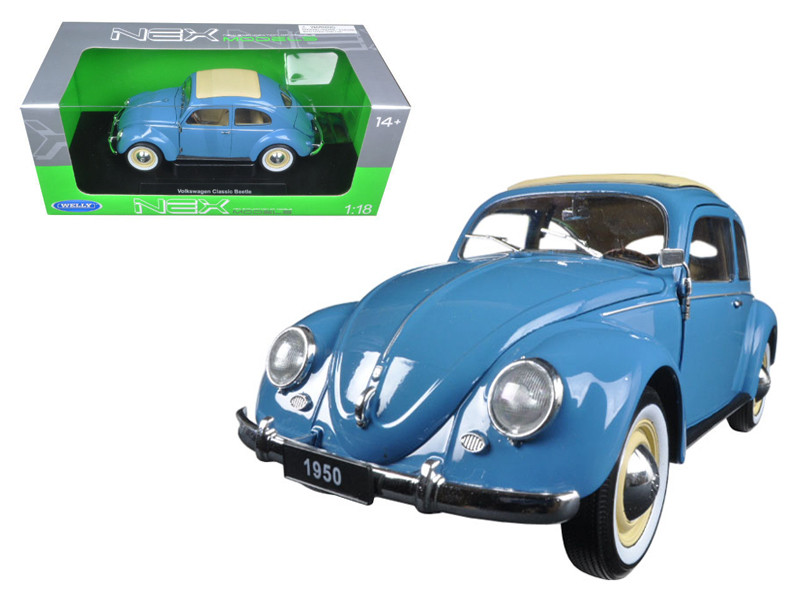 1950 Volkswagen Classic Old Beetle Split Window Blue 1/18 Diecast Model Car by Welly