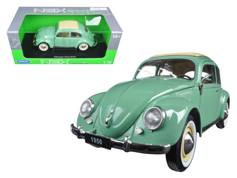 1950 Volkswagen Classic Old Beetle Split Window Green 1/18 Diecast Model Car by Welly