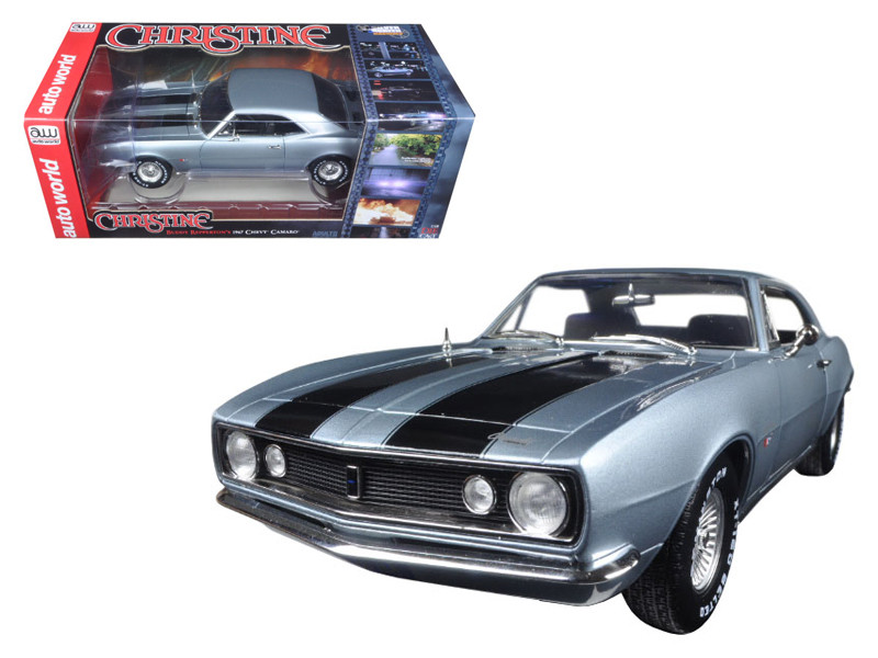 "1967 Chevrolet Camaro Silver/Blue ""Christine"" Movie Limited Edition to 1002pcs 1/18 Diecast Model Car Autoworld AWSS114"