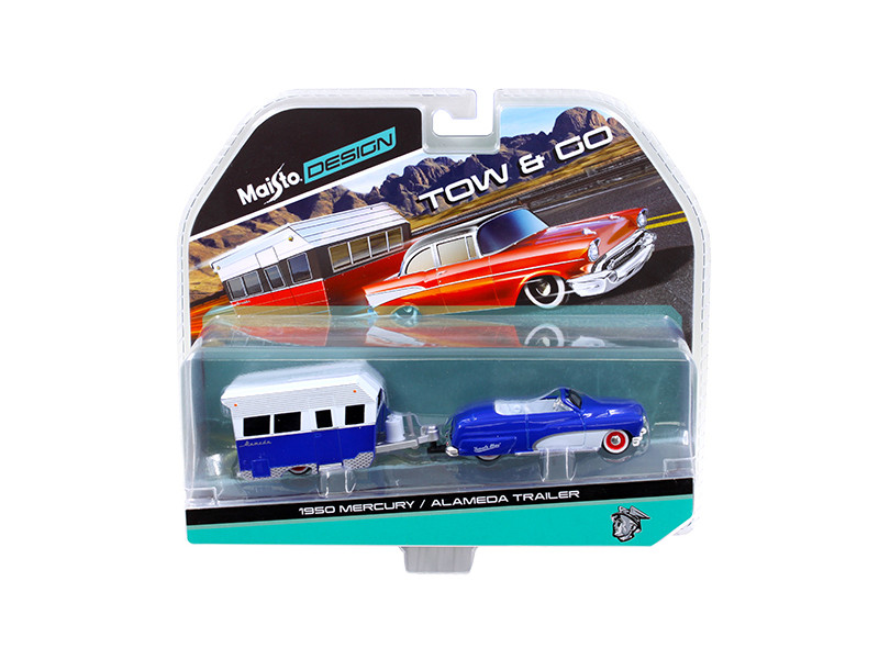 1950 Mercury with Alameda Trailer Blue / White Tow & Go 1/64 Diecast Model by Maisto