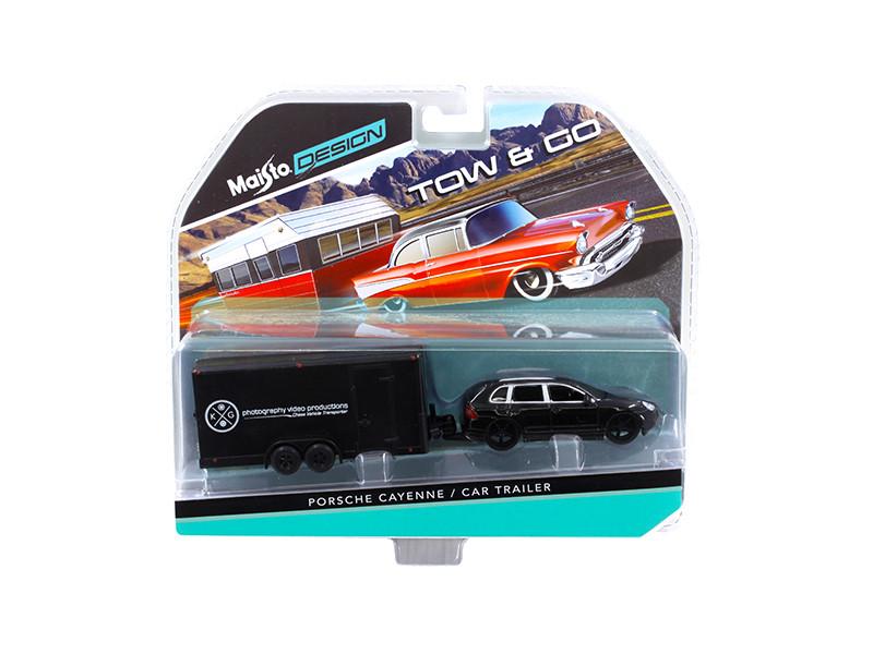 Porsche Cayenne Black and Car Trailer Tow & Go 1/64 Diecast Model Maisto 15368 L