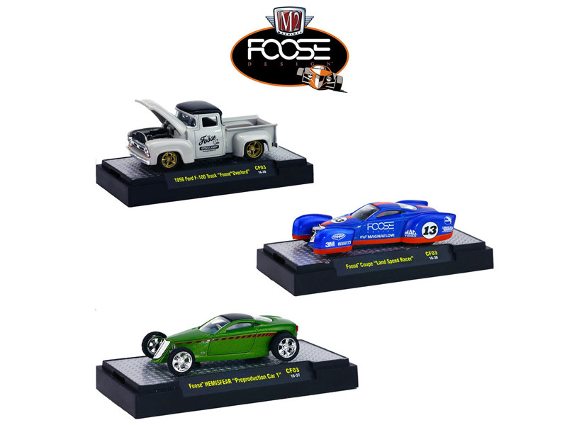 Chip Foose Release 3 3 Cars Set WITH CASES 1/64 Diecast Model Cars M2 Machines 32600 CF03