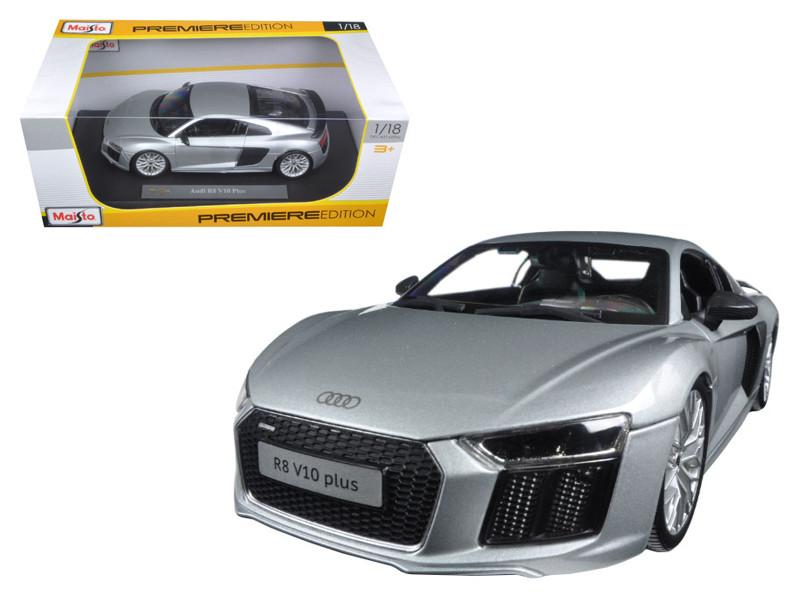 Audi R8 V10 Plus Silver 1/18 Diecast Model Car by Maisto