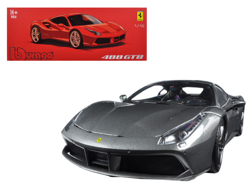 Ferrari 488 GTB Charcoal Gray Signature Series 1/18 Diecast Model Car Bburago 16905