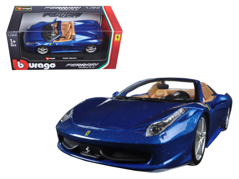 Ferrari 458 Spider Blue 1/24 Diecast Model Car Bburago 26017