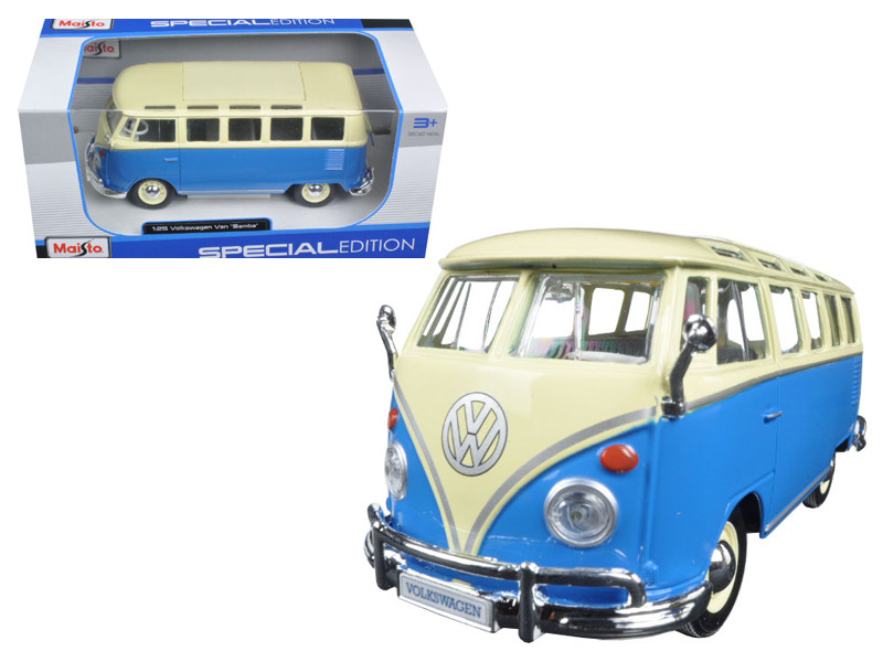 Volkswagen Samba Bus Blue 1/25 Diecast Model Car Maisto 31956