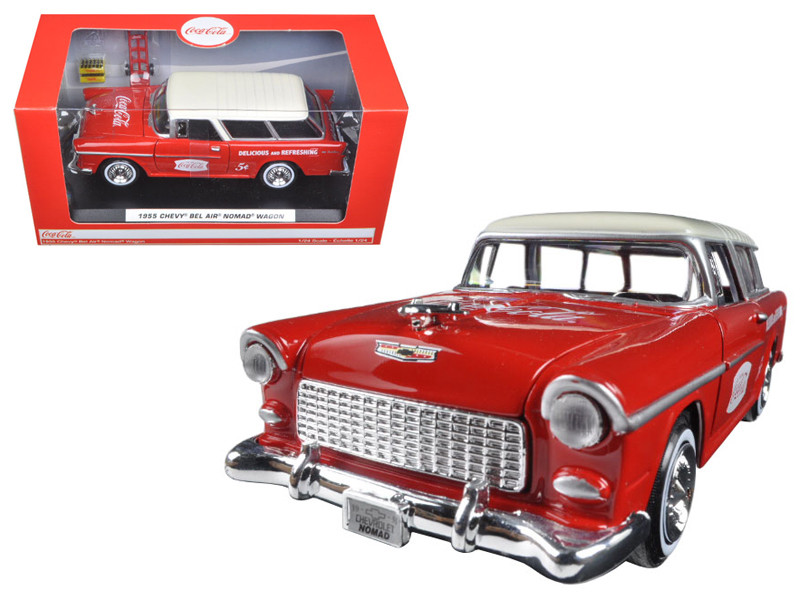 1955 Chevrolet Nomad Coca Cola with 2 bottle cases and metal handcart 1/24 Diecast Model Car Motorcity Classics 424110
