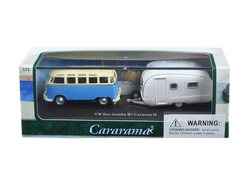 Volkswagen Bus Samba Blue with Caravan II Trailer in Display Showcase 1/72 Diecast Car Model Cararama 12812