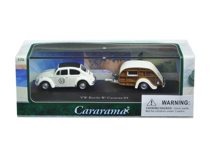 Volkswagen Beetle #53 with Caravan III Trailer in Display Showcase 1/72 Diecast Model Car Cararama 12817