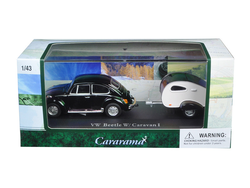 Volkswagen Beetle Black with Caravan I Trailer and Display Case 1/43 Diecast Car Model Cararama 14709