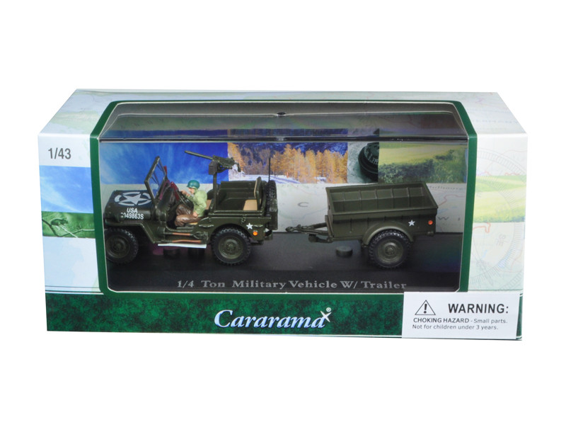 1/4 Ton Military Army Vehicle with Trailer and Display Case 1/43 Diecast Model Car Cararama 14901