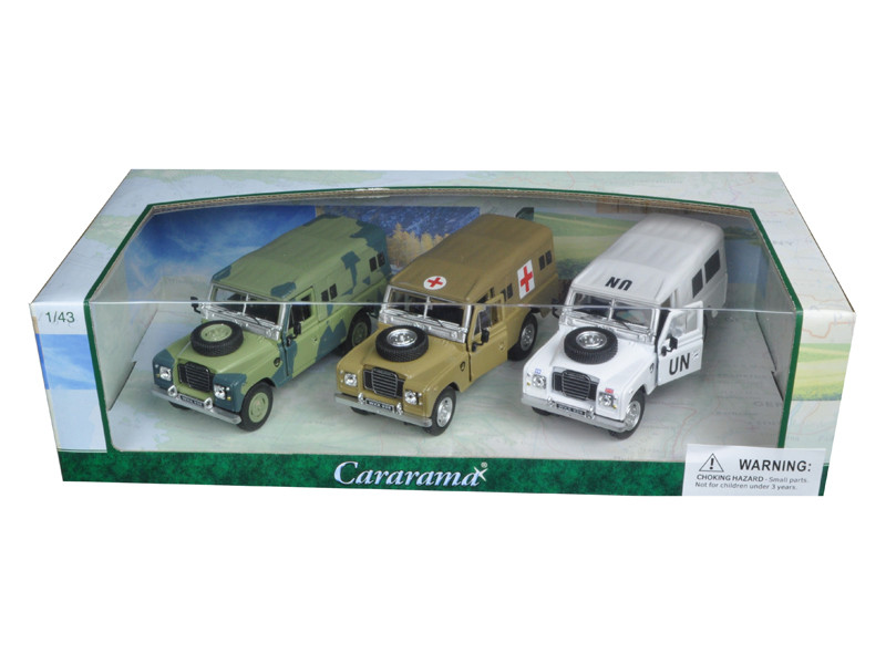Land Rover Series III Military 3pc Gift Set 1/43 Diecast Model Cars by Cararama