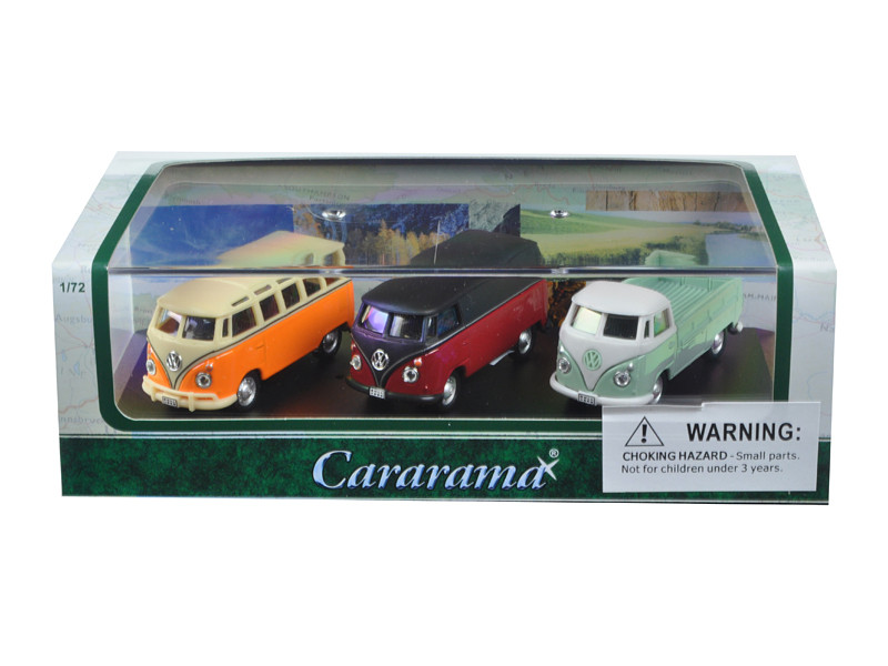 Volkswagen Bus 3 Piece Gift Set in Display Showcase 1/72 Diecast Model Cars Cararama 71308
