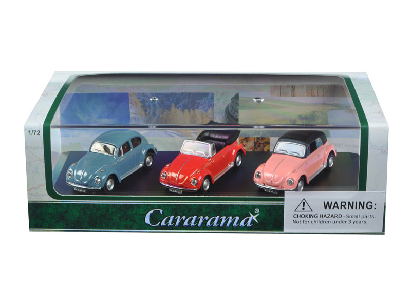 Volkswagen Beetle 3 Piece Gift Set in Display Showcase 1/72 Diecast Model Cars Cararama 71309