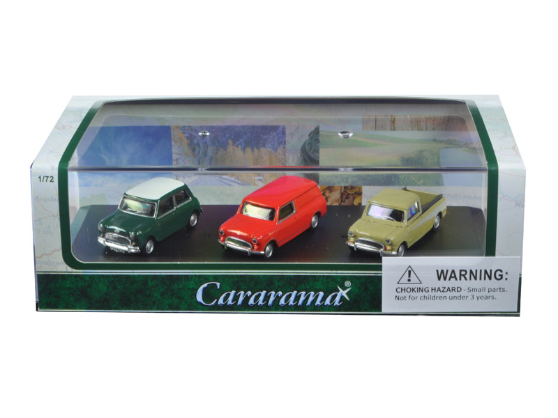 Mini Cooper 3 Piece Gift Set in Display Showcase 1/72 Diecast Model Car Cararama 71310