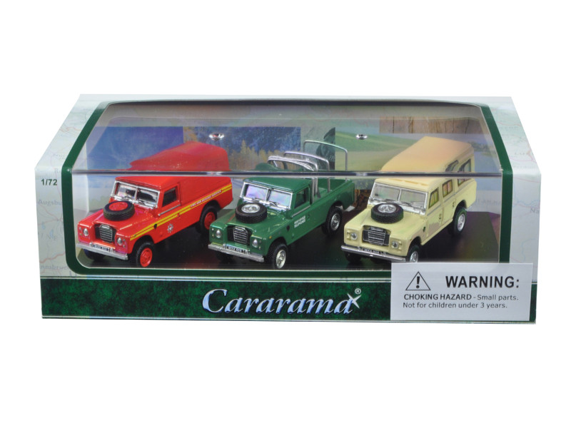 Land Rover 3 Piece Gift Set in Display Showcase 1/72 Diecast Model Car Cararama 71311