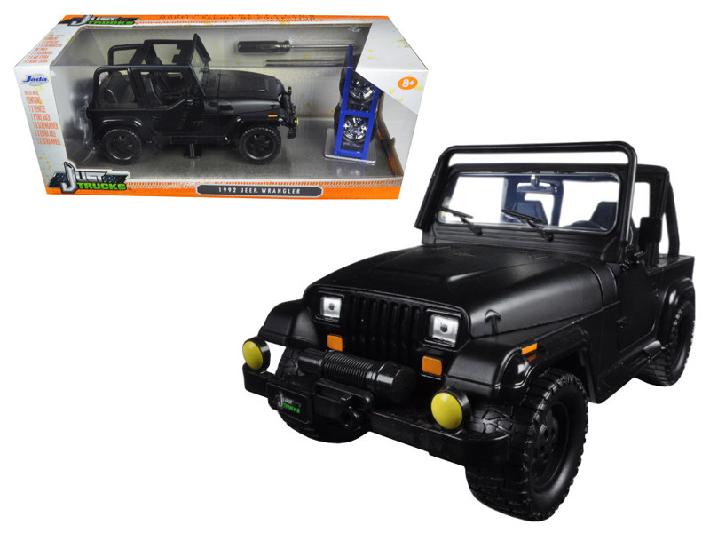 1992 Jeep Wrangler Just Trucks with Extra Wheels Matt Black 1/24 Diecast Model Car Jada 98020