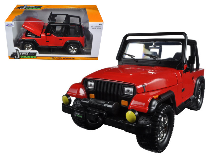 1992 Jeep Wrangler Red 1/24 Diecast Model Car Jada 98081