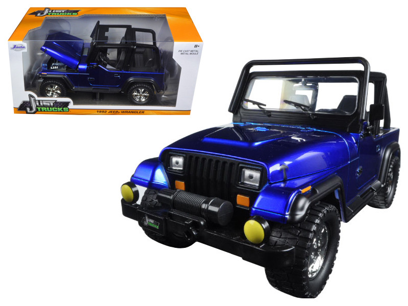1992 Jeep Wrangler Metallic Blue 1/24 Diecast Model Car Jada 98082
