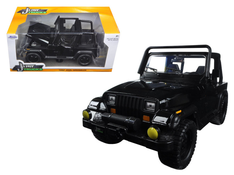 1992 Jeep Wrangler Black 1/24 Diecast Model Car Jada 98083