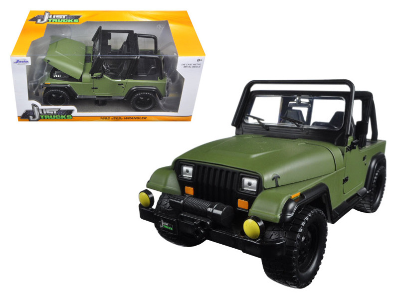 1992 Jeep Wrangler Matt Green 1/24 Diecast Model Car Jada 98132