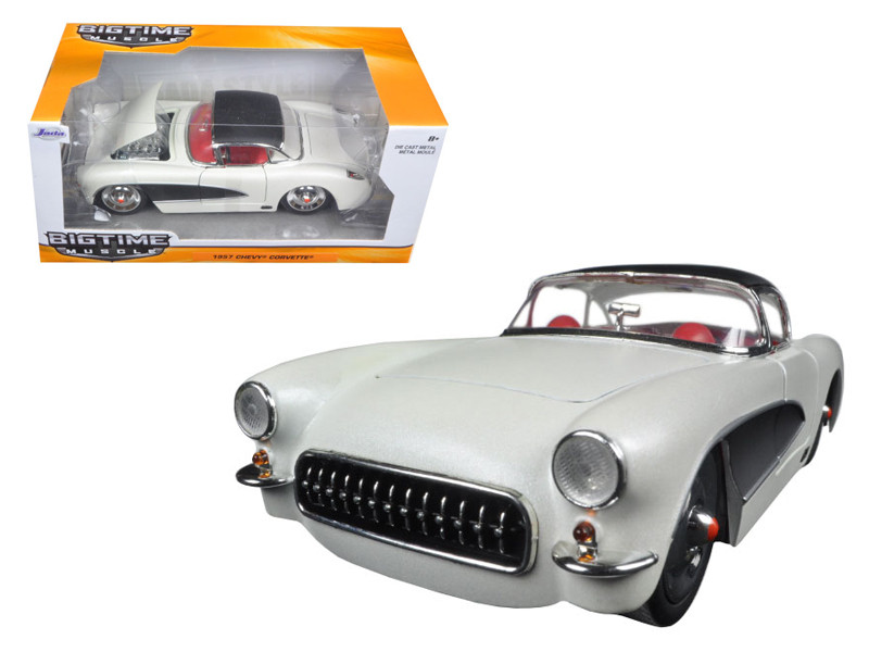 1957 Chevrolet Corvette Satin Cream Metallic with Matt Black Top and Side 1/24 Diecast Model Car Jada 98161