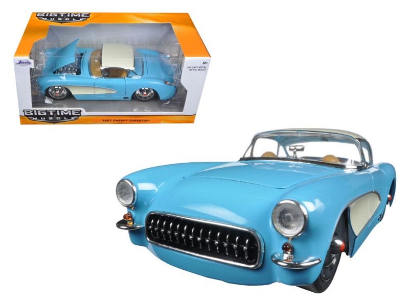 1957 Chevrolet Corvette Sky Blue with Cream Top and Side 1/24 Diecast Model Car Jada 98162