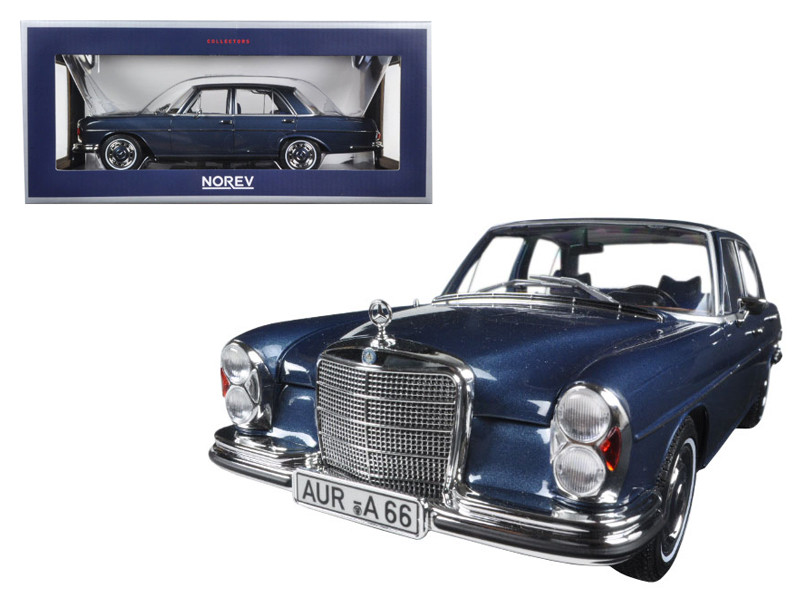 1968 Mercedes 280 SE Dark Blue Metallic 1/18 Diecast Model Car Norev 183534