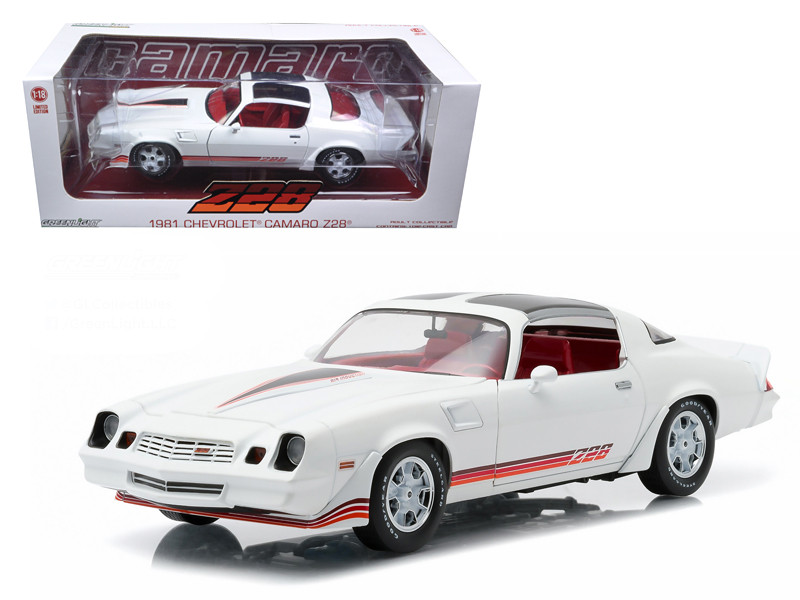 1981 Chevrolet Camaro Z/28 White with Red Stripes and Carmine Interior 1/18 Diecast Model Car Greenlight 12906