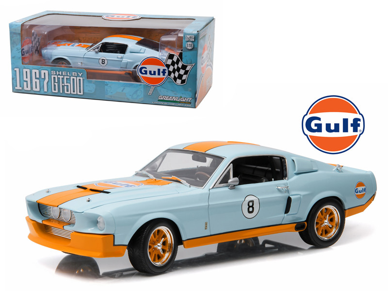 1967 Ford Shelby Mustang GT-500 Gulf Oil 1/18 Diecast Model Car Greenlight 12954