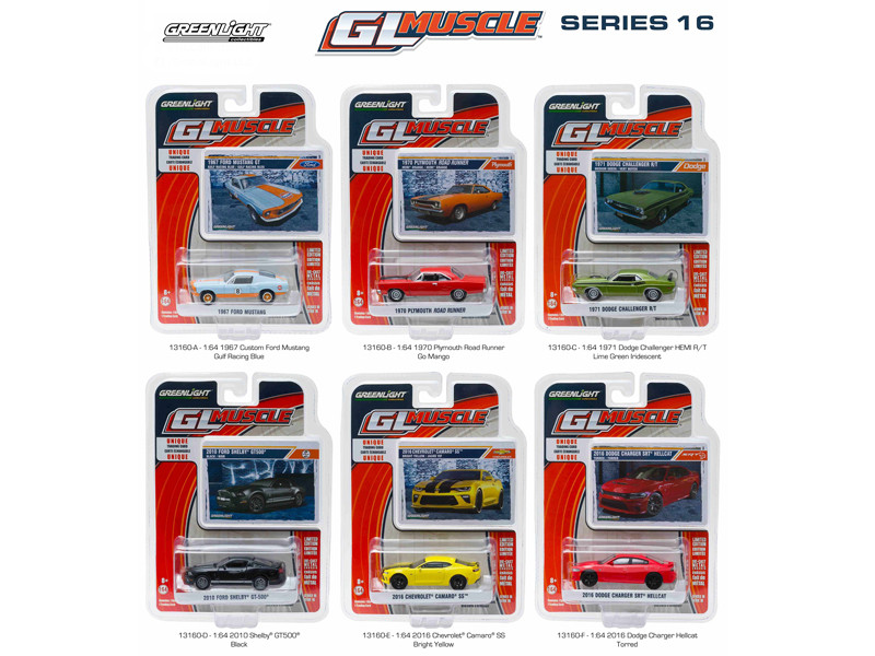 Greenlight Muscle Series 16 6pc Set 1/64 Diecast Model Cars Greenlight 13160