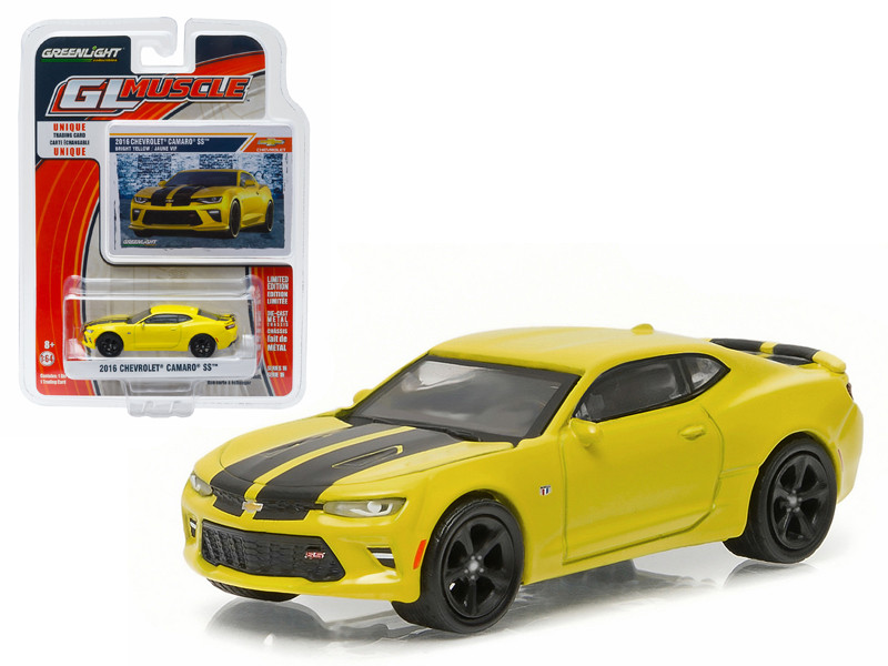 2016 Chevrolet Camaro SS Bright Yellow 1/64 Diecast Model Car Greenlight 13160 E