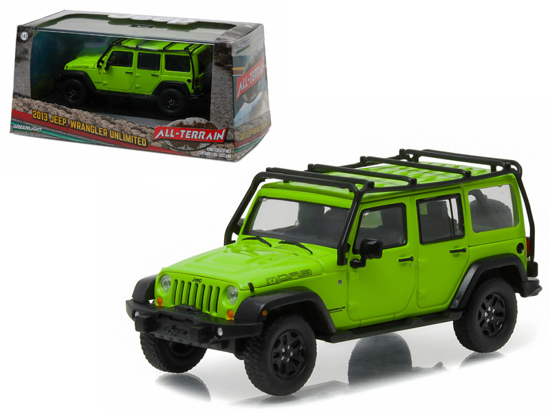 2013 Jeep Wrangler Unlimited Moab Edition Gecko Green with Roof Rack With Display Showcase 1/43 Diecast Model Car Greenlight 86078