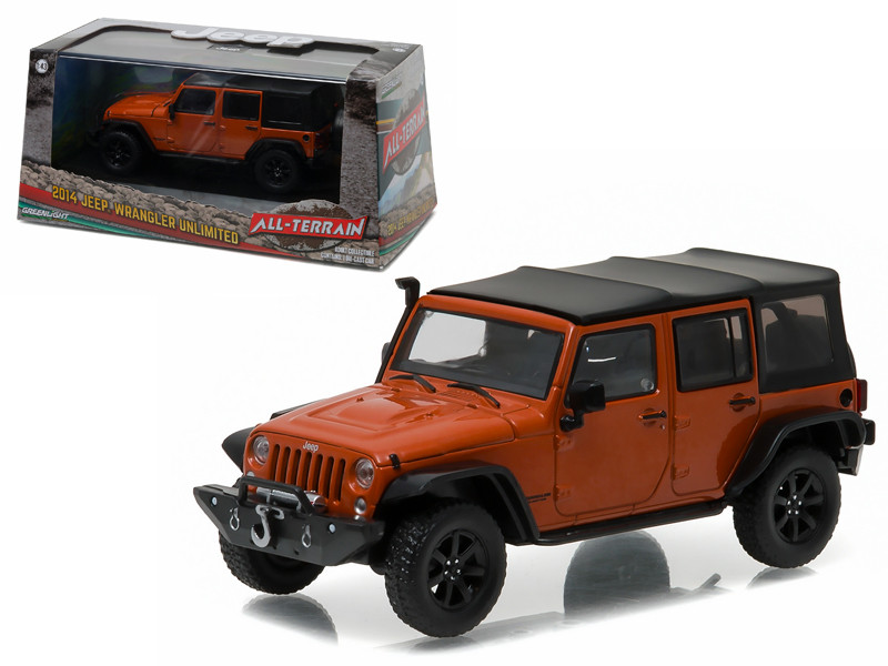 2014 Jeep Wrangler Unlimited Custom Copperhead Pearl with Snorkel With Display Showcase 1/43 Diecast Model Car Greenlight 86079