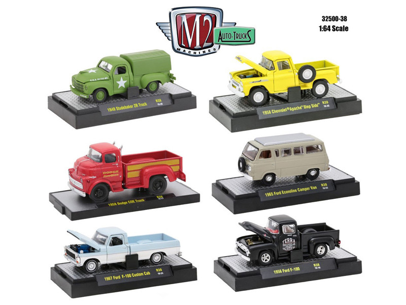Auto Trucks 6 Piece Set Release 38 IN DISPLAY CASES 1/64 Diecast Model Cars M2 Machines 32500-38