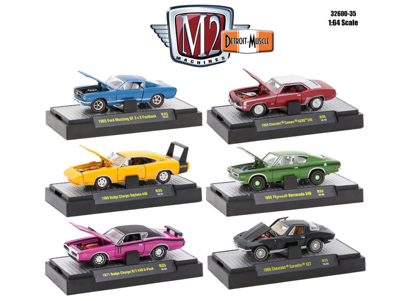 Detroit Muscle 6 Cars Set Release 35 IN DISPLAY CASES 1/64 Diecast Model Cars M2 Machines 32600-35