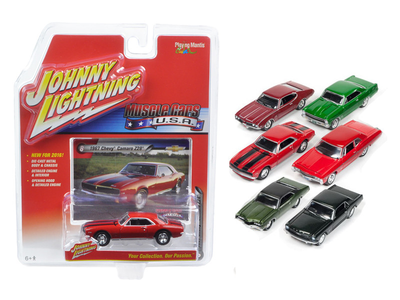 Muscle Cars USA Set of 6 cars 1/64 Diecast Model Cars Johnny Lightning JLMC002 A