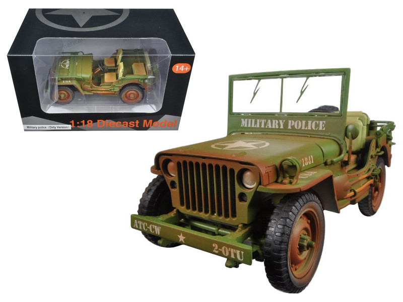 US Army WWII Jeep Vehicle Military Police Green Weathered Version 1/18 Diecast Model Car American Diorama 77406 A