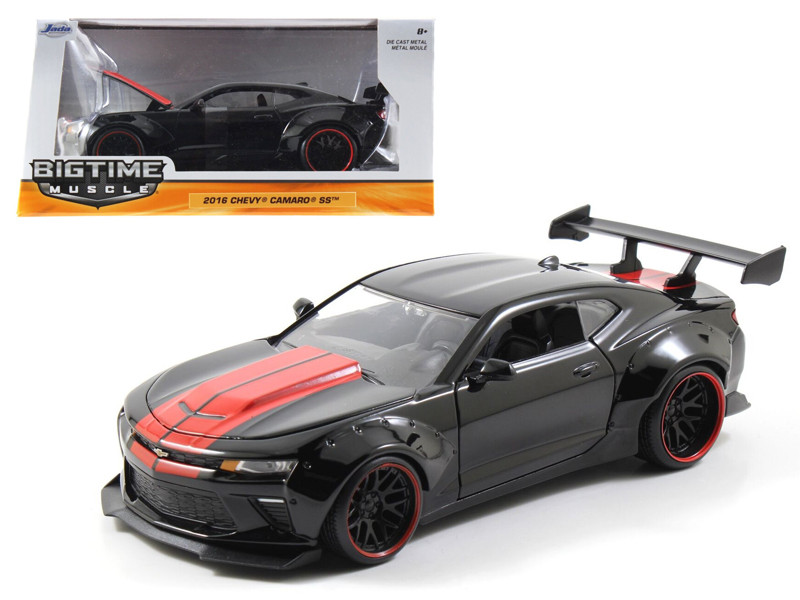 2016 Chevrolet Camaro SS Wide Body with GT Wing Glossy Black With Red Stripes 1/24 Diecast Model Car Jada 98137