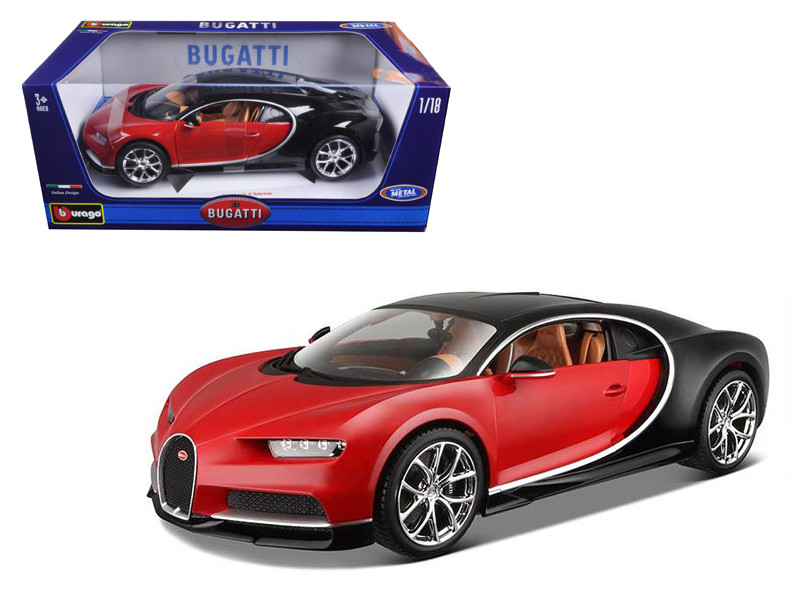 2016 Bugatti Chiron Red with Black 1/18 Diecast Model Car Bburago 11040