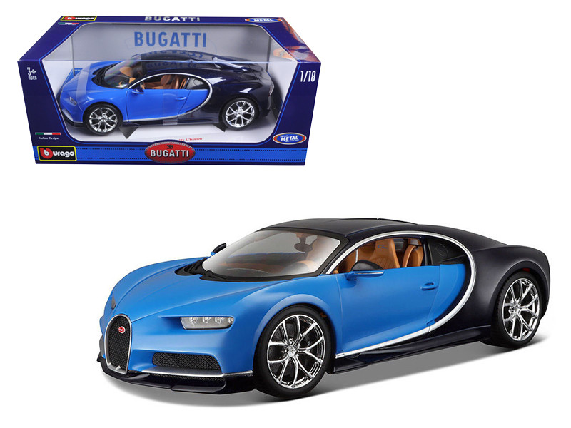 2016 Bugatti Chiron Blue 1/18 Diecast Model Car Bburago 11040